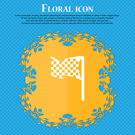 racing checkered flag crossed: racing flag icon sign. Floral flat design on a blue abstract background with place for your text. Vector illustration