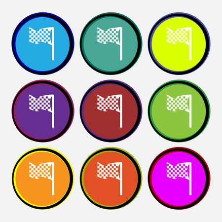 racing flag icon sign. Nine multi colored round buttons. Vector illustration