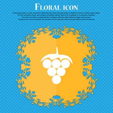 viticulture: Grapes icon sign. Floral flat design on a blue abstract background with place for your text. Vector illustration Illustration