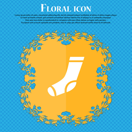 socks icon sign. Floral flat design on a blue abstract background with place for your text. Vector illustration