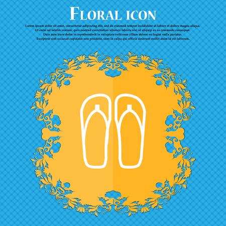 Flip-flops. Beach shoes. Sand sandals icon sign. Floral flat design on a blue abstract background with place for your text. Vector illustration