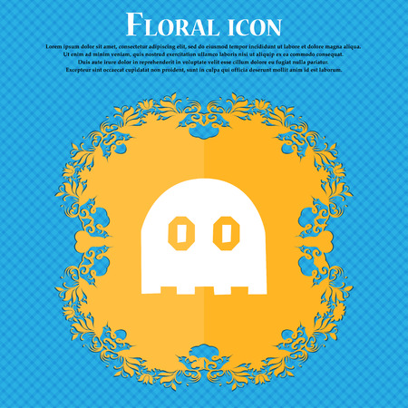 haunt: Ghost icon sign. Floral flat design on a blue abstract background with place for your text. Vector illustration Illustration