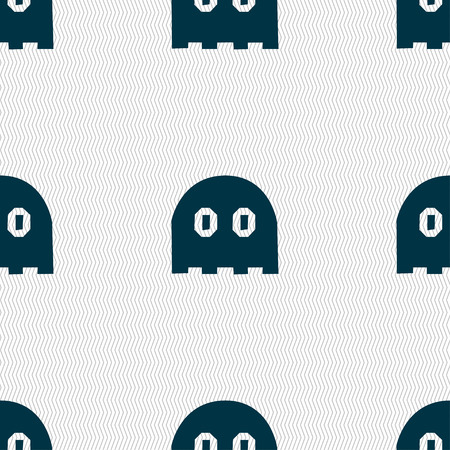 wraith: Ghost icon sign. Seamless pattern with geometric texture. Vector illustration