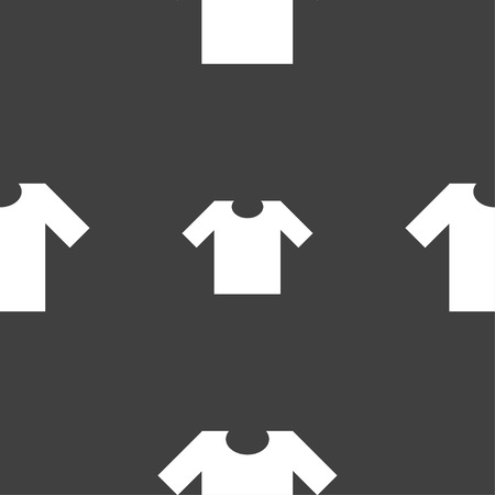 T-shirt icon sign. Seamless pattern on a gray background. Vector illustration