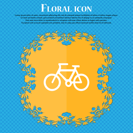 Bicycle icon sign. Floral flat design on a blue abstract background with place for your text. Vector illustration