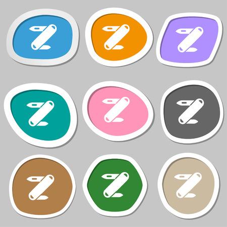 pocket knife: Pocket knife icon symbols. Multicolored paper stickers. Vector illustration