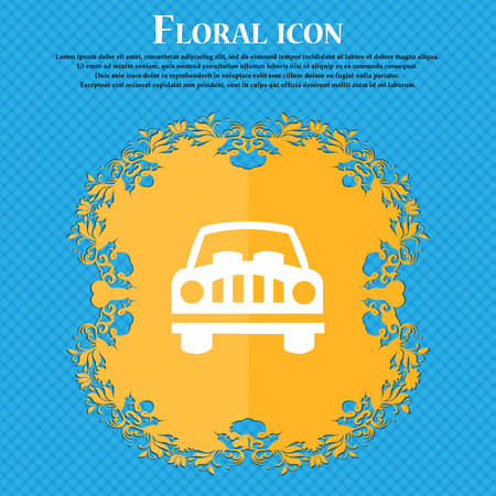 Car Icon sign. Floral flat design on a blue abstract background with place for your text. Vector illustration Illustration