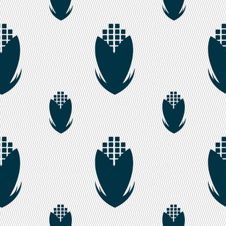 sweetcorn: Corn icon sign. Seamless pattern with geometric texture. Vector illustration Illustration