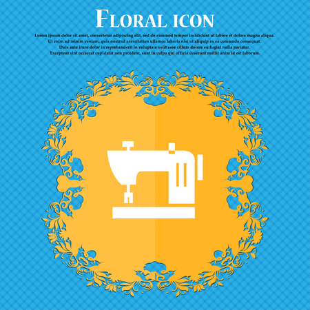 Sewing machine icon sign. Floral flat design on a blue abstract background with place for your text. Vector illustration