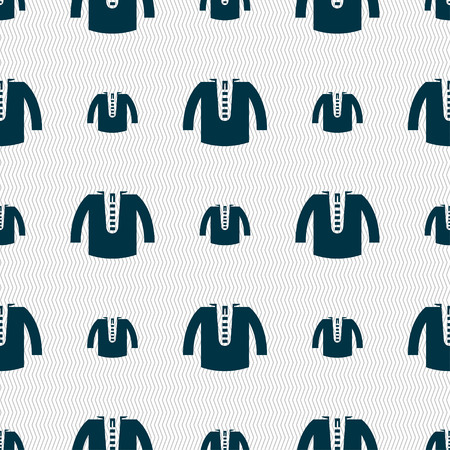 leather coat: casual jacket icon sign. Seamless pattern with geometric texture. Vector illustration