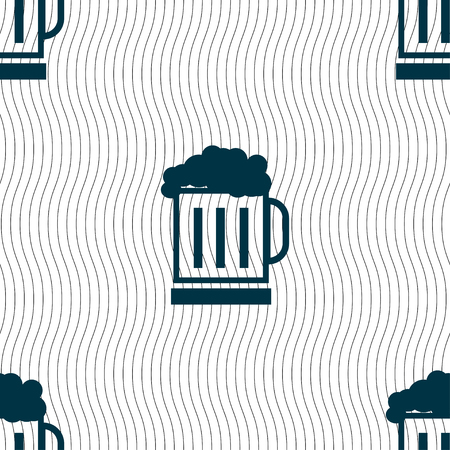 Beer glass icon sign. Seamless pattern with geometric texture. Vector illustration