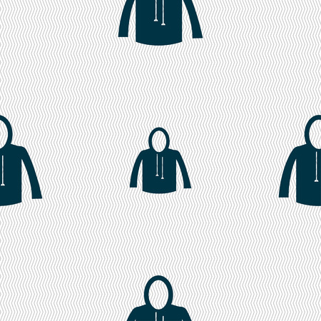 casual jacket icon sign. Seamless pattern with geometric texture. Vector illustration