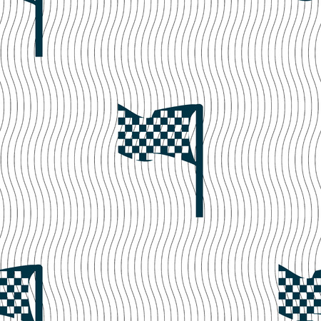 racing flag icon sign. Seamless pattern with geometric texture. Vector illustration Illustration