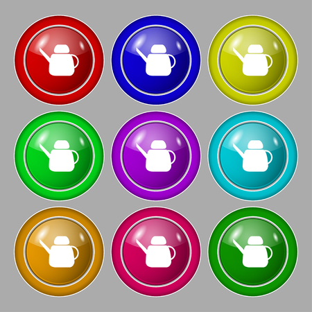 Kettle Icon sign. symbol on nine round colourful buttons. Vector illustration