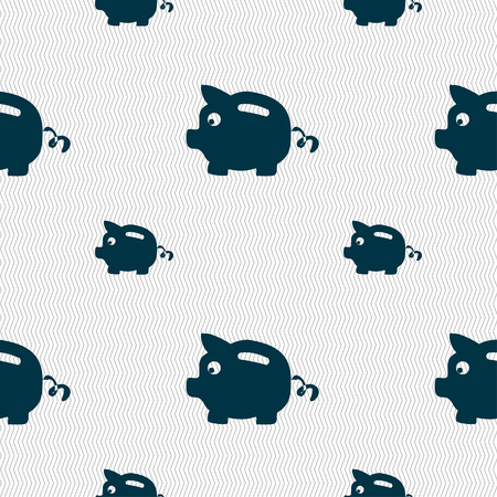 moneyed: Piggy bank icon sign. Seamless pattern with geometric texture. Vector illustration