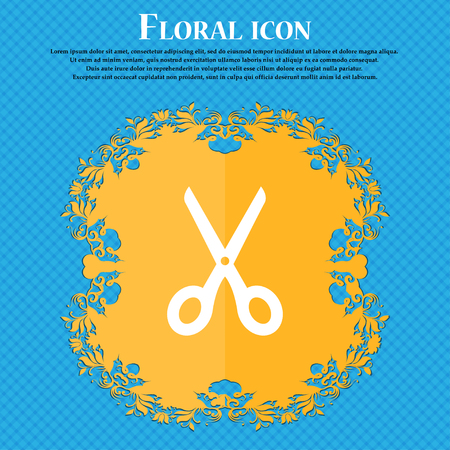 scissors icon: Scissors icon sign. Floral flat design on a blue abstract background with place for your text. Vector illustration Illustration