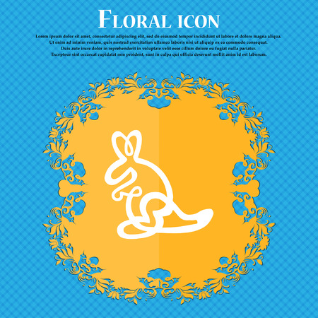 skip: Kangaroo Icon sign. Floral flat design on a blue abstract background with place for your text. Vector illustration