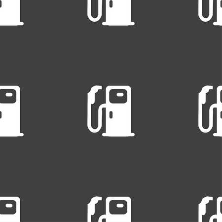 refueling: Fuel icon sign. Seamless pattern on a gray background. Vector illustration