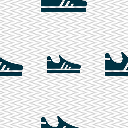 running shoe: Running shoe icon sign. Seamless pattern with geometric texture. Vector illustration