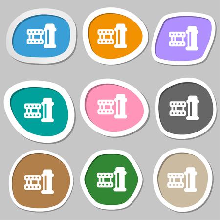 documentary: film Icon symbols. Multicolored paper stickers. Vector illustration
