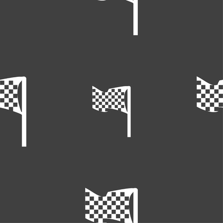 racing checkered flag crossed: racing flag icon sign. Seamless pattern on a gray background. Vector illustration