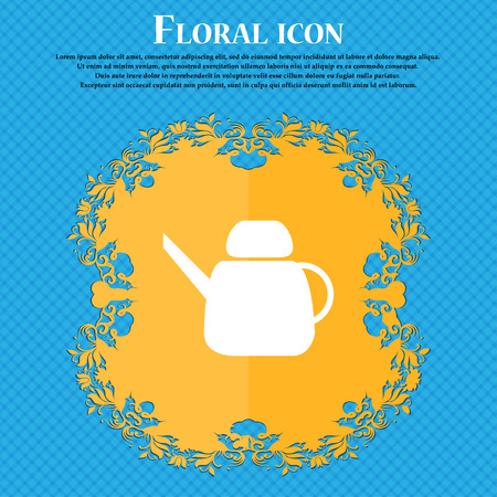 Kettle Icon sign. Floral flat design on a blue abstract background with place for your text. Vector illustration Illustration