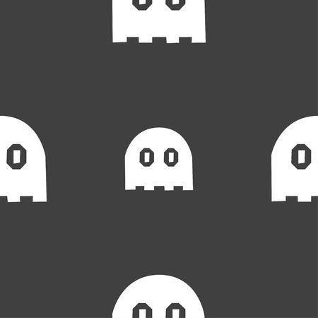 wraith: Ghost icon sign. Seamless pattern on a gray background. Vector illustration