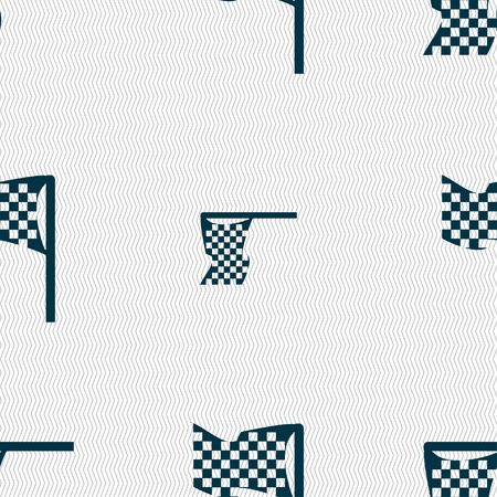 racing checkered flag crossed: racing flag icon sign. Seamless pattern with geometric texture. Vector illustration Illustration