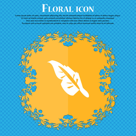 Feather icon sign. Floral flat design on a blue abstract background with place for your text. Vector illustration