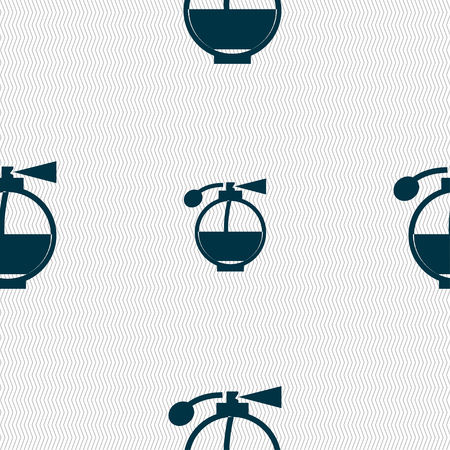 sniff: Perfume icon sign. Seamless pattern with geometric texture. Vector illustration
