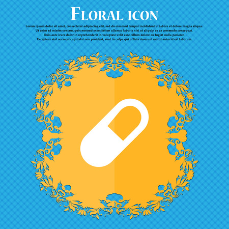 pill icon sign. Floral flat design on a blue abstract background with place for your text. Vector illustration