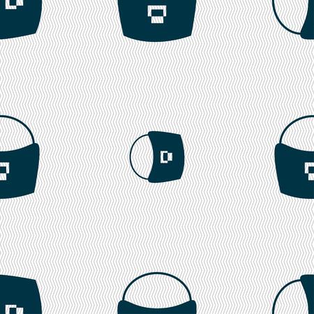 la donna invece bag icona segno. Seamless pattern con struttura geometrica. illustrazione di vettore