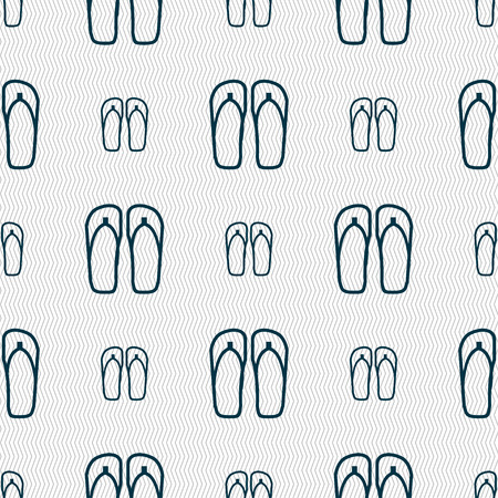sandals: Flip-flops. Beach shoes. Sand sandals icon sign. Seamless pattern with geometric texture. Vector illustration Illustration