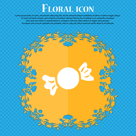 candy icon sign. Floral flat design on a blue abstract background with place for your text. Vector illustration