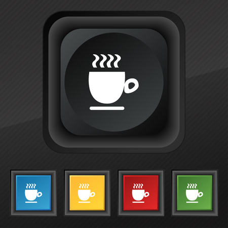 black coffee: Coffee cup symbol. Set of five colorful, stylish buttons on black texture for your design. Vector illustration Illustration