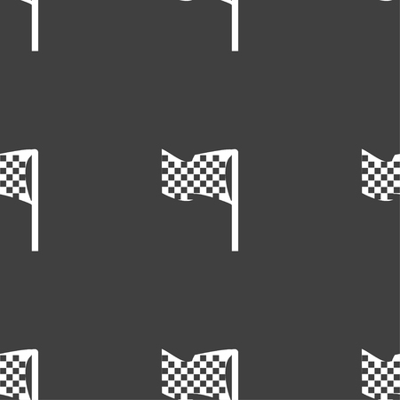 accomplish: racing flag icon sign. Seamless pattern on a gray background. Vector illustration