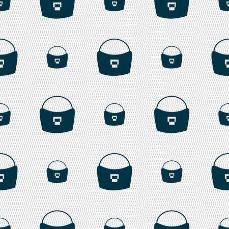 suede: woman hand bag icon sign. Seamless pattern with geometric texture. Vector illustration