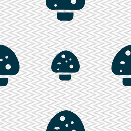 edible mushroom: mushroom icon sign. Seamless pattern with geometric texture. Vector illustration