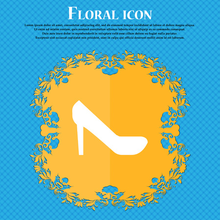 woman shoes icon sign. Floral flat design on a blue abstract background with place for your text. Vector illustration