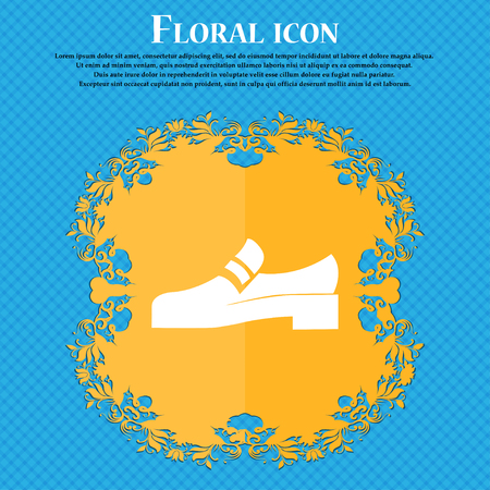 Shoe icon sign. Floral flat design on a blue abstract background with place for your text. Vector illustration