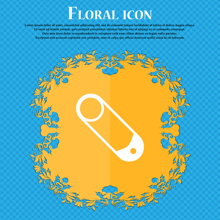 pushpin: Pushpin icon sign. Floral flat design on a blue abstract background with place for your text. Vector illustration Illustration