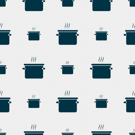 skimmer: pan cooking icon sign. Seamless pattern with geometric texture. Vector illustration