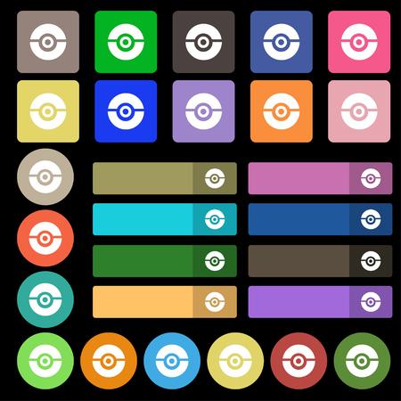 poke: pokeball icon sign. Set from twenty seven multicolored flat buttons. Vector illustration Illustration