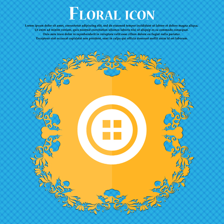 Sewing button sign. Floral flat design on a blue abstract background with place for your text. Vector illustration Illustration