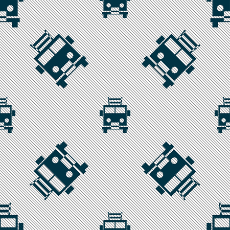 fire engine: Fire engine icon sign. Seamless pattern with geometric texture. Vector illustration Illustration