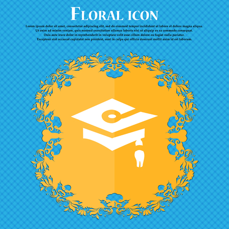 Graduation icon sign. Floral flat design on a blue abstract background with place for your text. Vector illustration