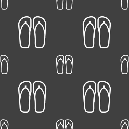 sandals: Flip-flops. Beach shoes. Sand sandals icon sign. Seamless pattern on a gray background. Vector illustration
