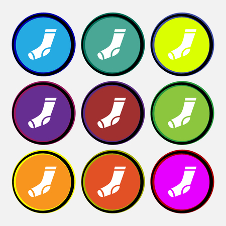 socks icon sign. Nine multi colored round buttons. Vector illustration Illustration