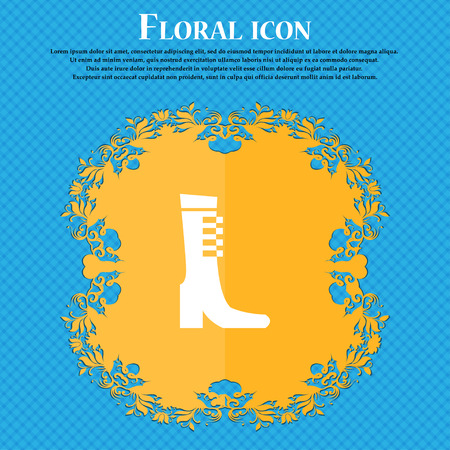 female fall and winter shoe, boot icon sign. Floral flat design on a blue abstract background with place for your text. Vector illustration