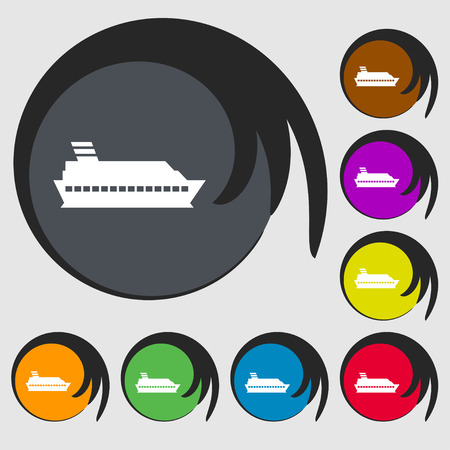to pierce: Cruise sea ship icon sign. Symbols on eight colored buttons. Vector illustration